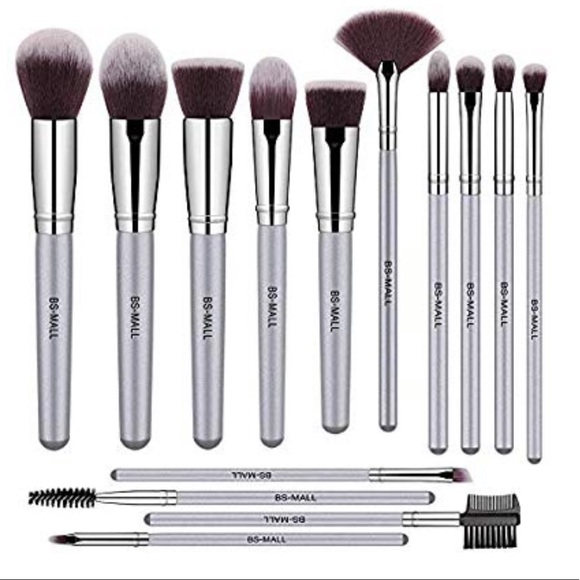 Other - 🆕13 Piece Makeup Brush Set with Silver Handles